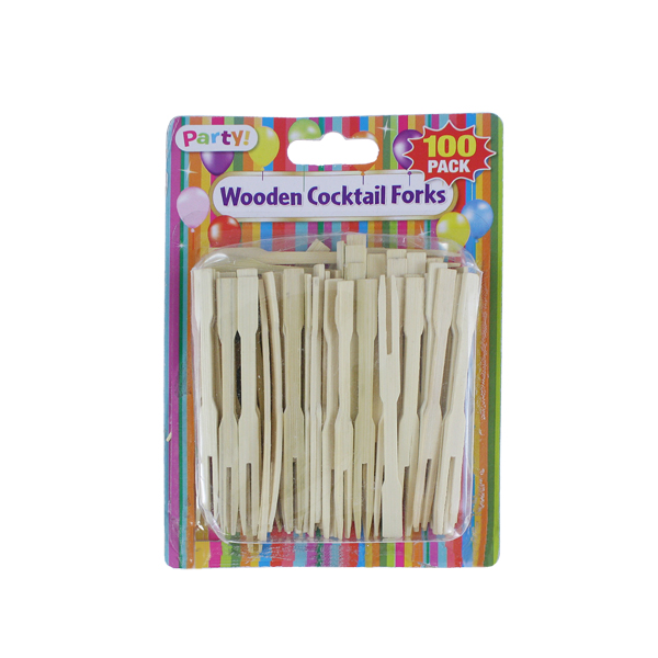 Wooden Cocktail Forks 100 pack