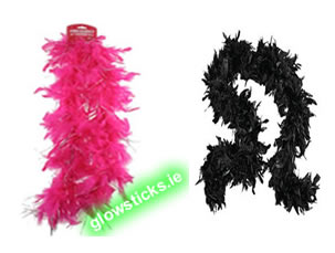 Pink & Black Feather Boa 50""